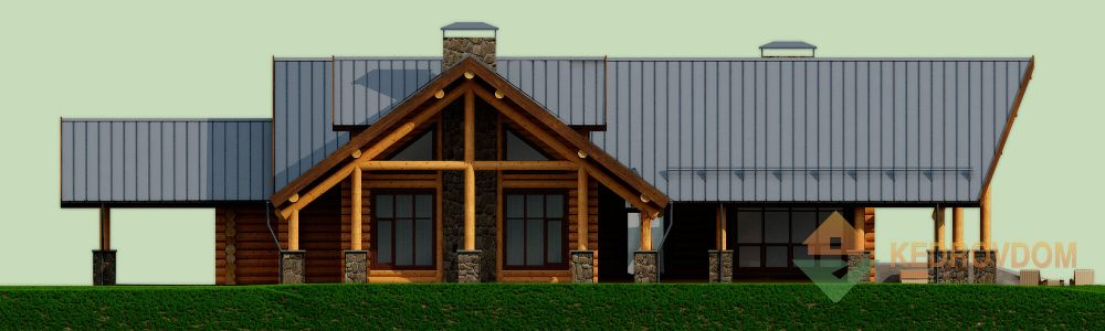 Фасад дома из кедра