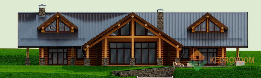 Фасад дом ручной рубки